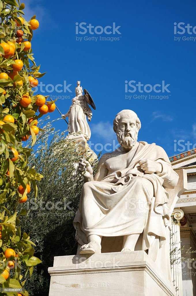Plato and Athena Statues at the Academy of Athens stock photo
