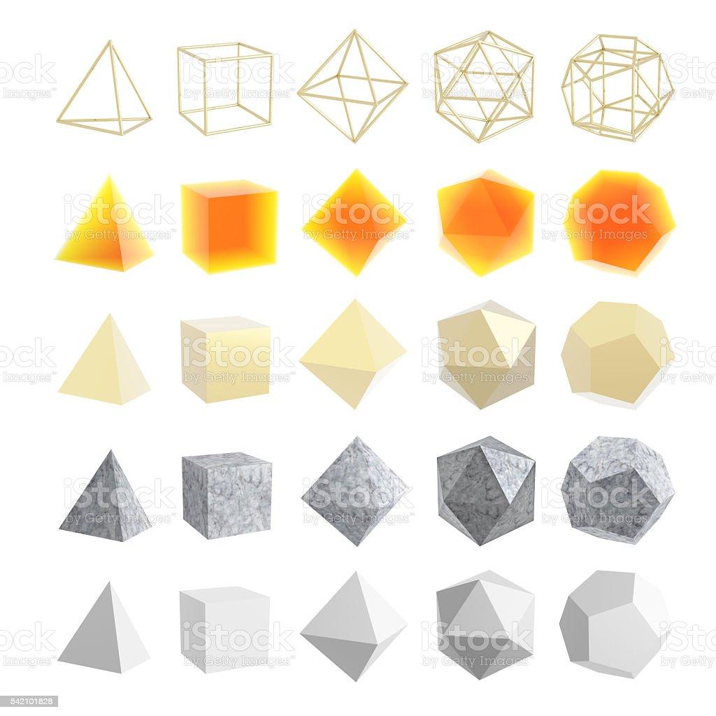 Platonic solids stock photo