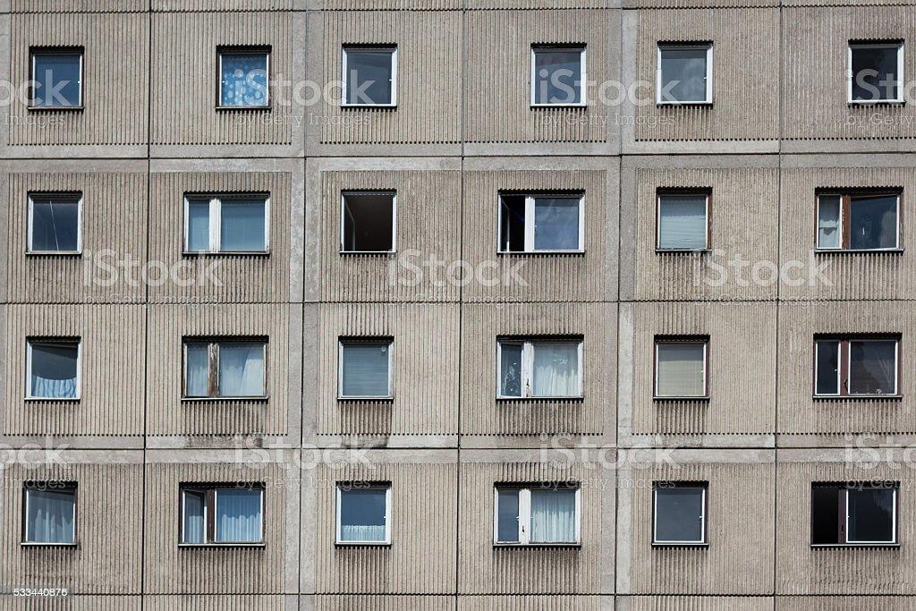 Plattenbau building - gdr building facade stock photo