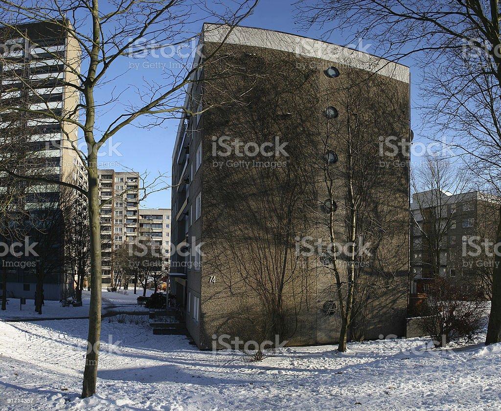 Plattenbau im Kasseler Stadtteil Brückenhof royalty-free stock photo