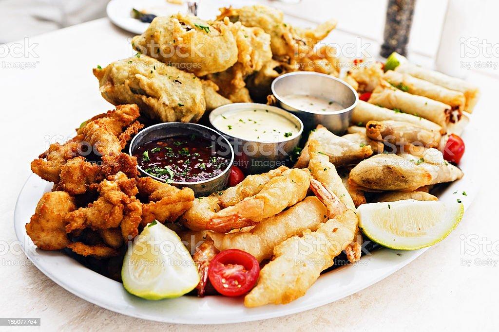 Platter of finger snacks stock photo