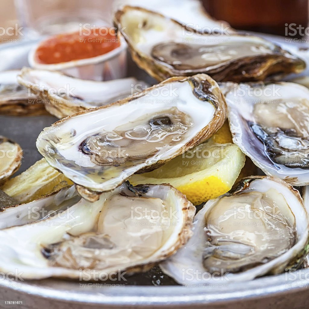 Platter of Oysters stock photo