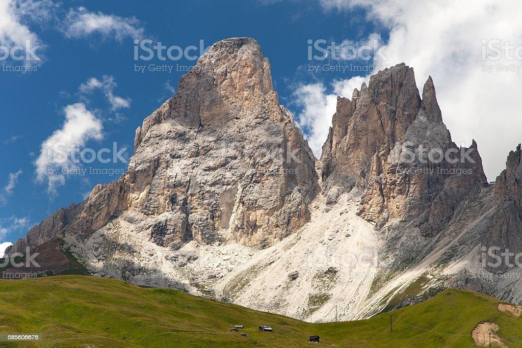 Plattkofel (Sasso Piatto) and Grohmannspitze (Sasso Levante) stock photo