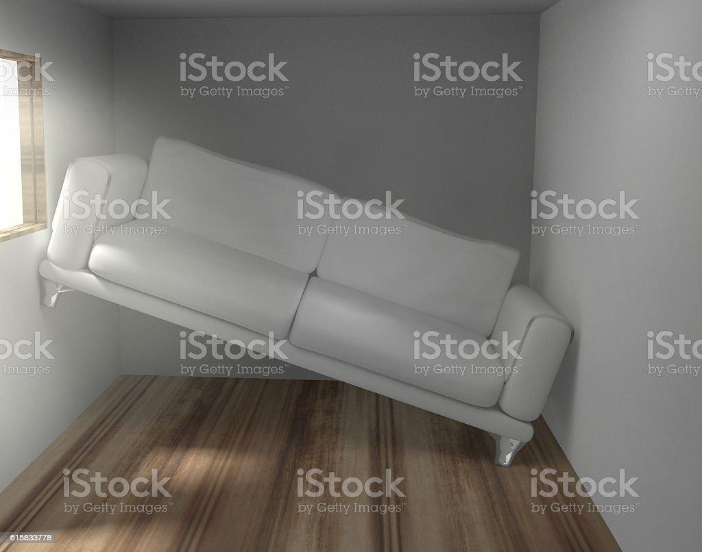 Platzprobleme im zu kleinen Wohnzimmer stock photo