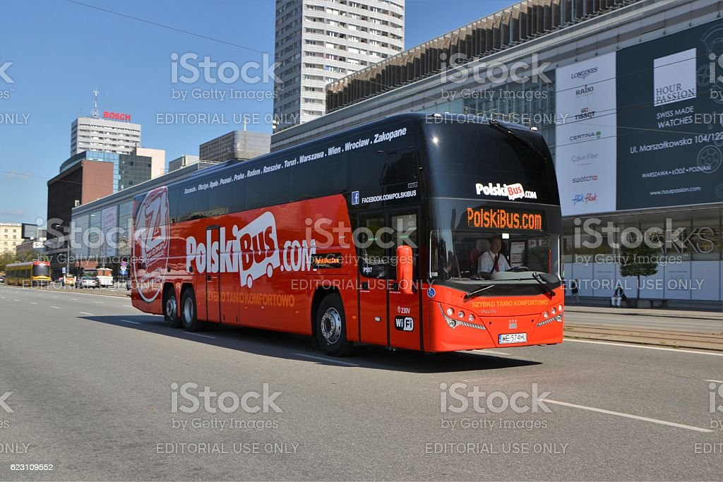 Plaxton Elite - luxury coach in motion stock photo