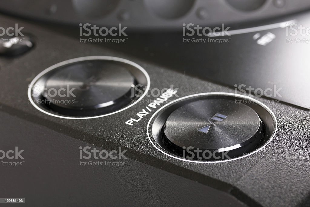 Play and stop buttons on Dj cd player stock photo