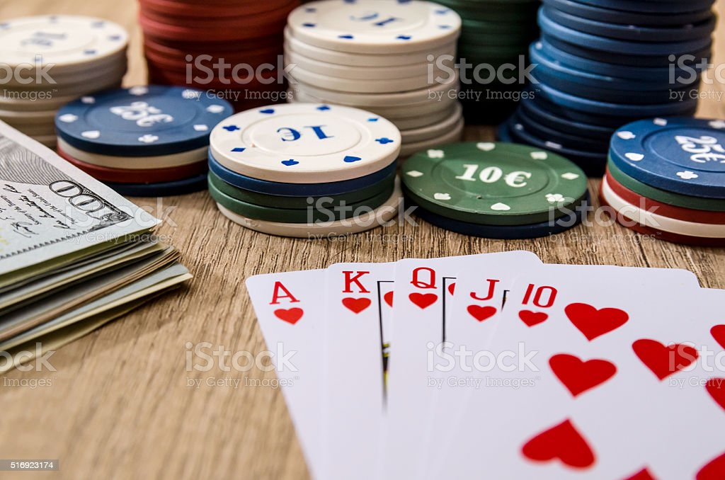 play card with money,  chips stock photo