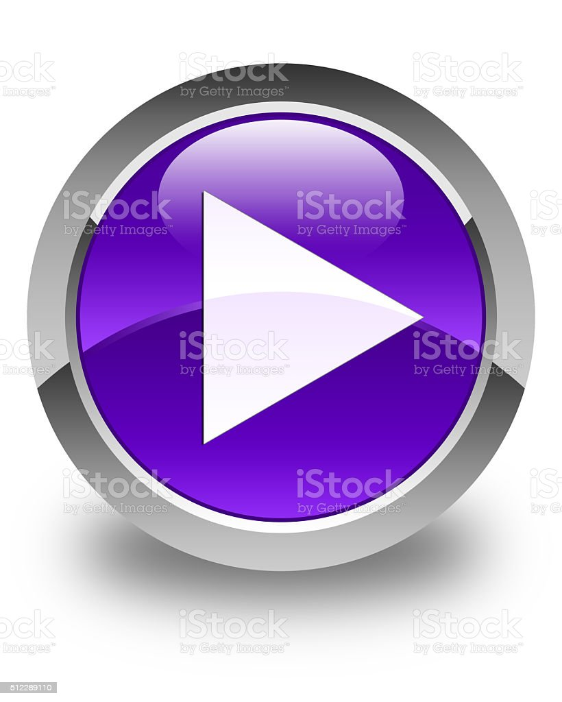 Play icon glossy purple round button stock photo