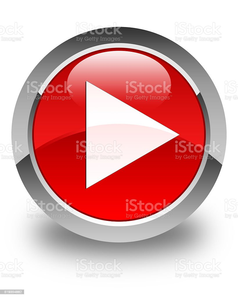 Play icon glossy red round button stock photo