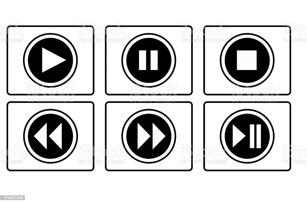 Play, pause, stop and other button stock photo