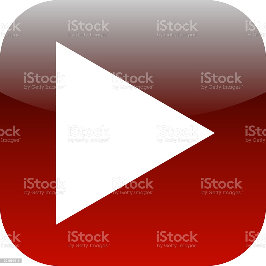 play red square glossy web icon on white background stock photo