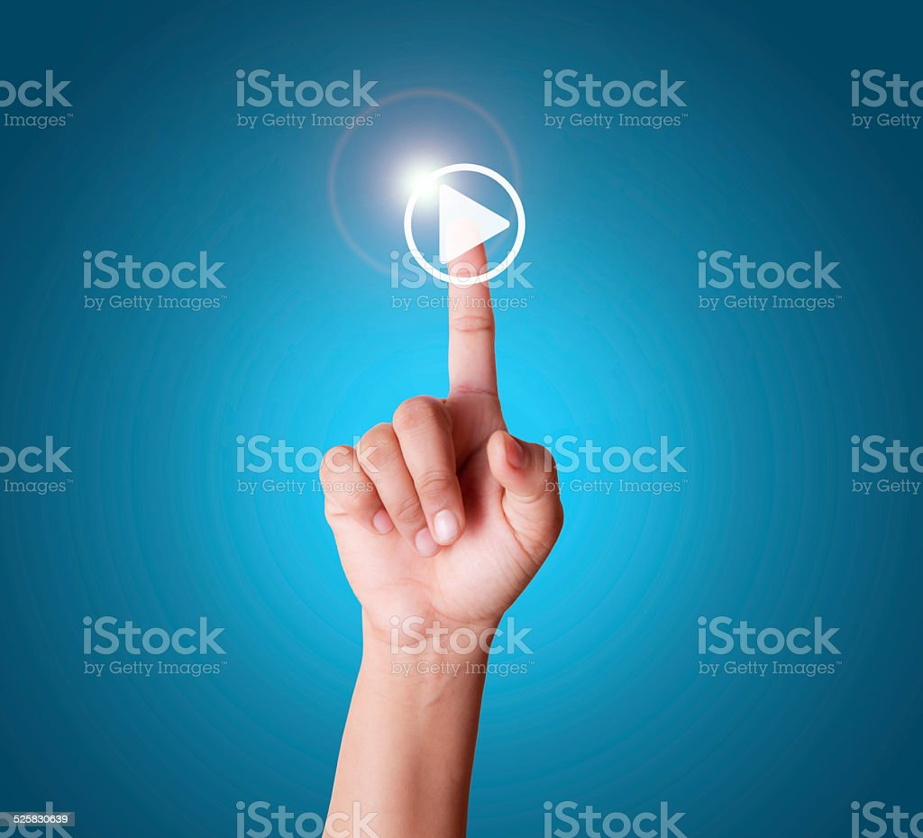 Play video/audio music with touch screen stock photo