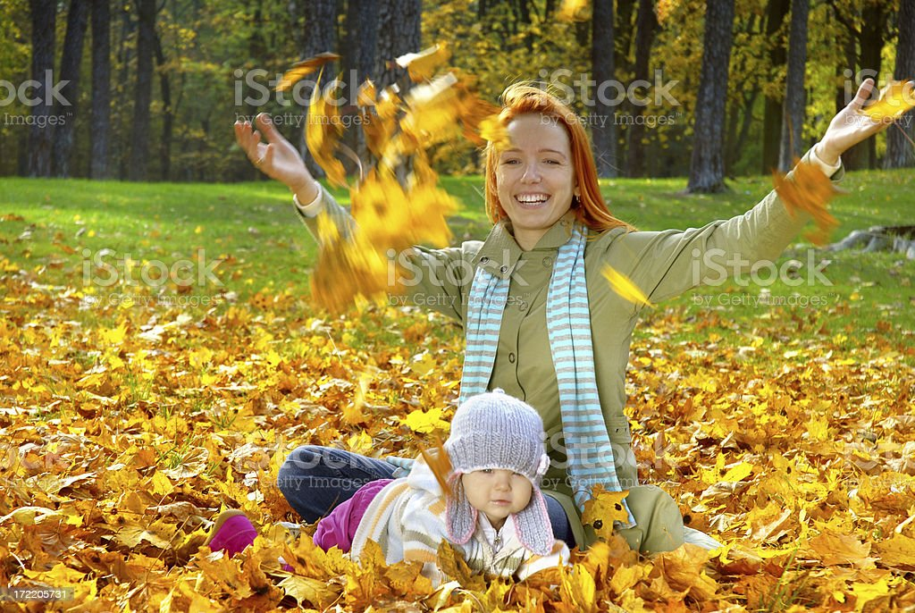 Play with leaves royalty-free stock photo