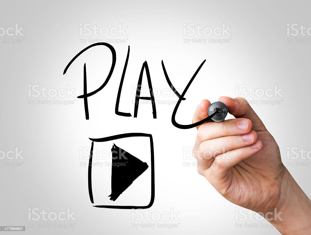 Play written on the Wipe board stock photo