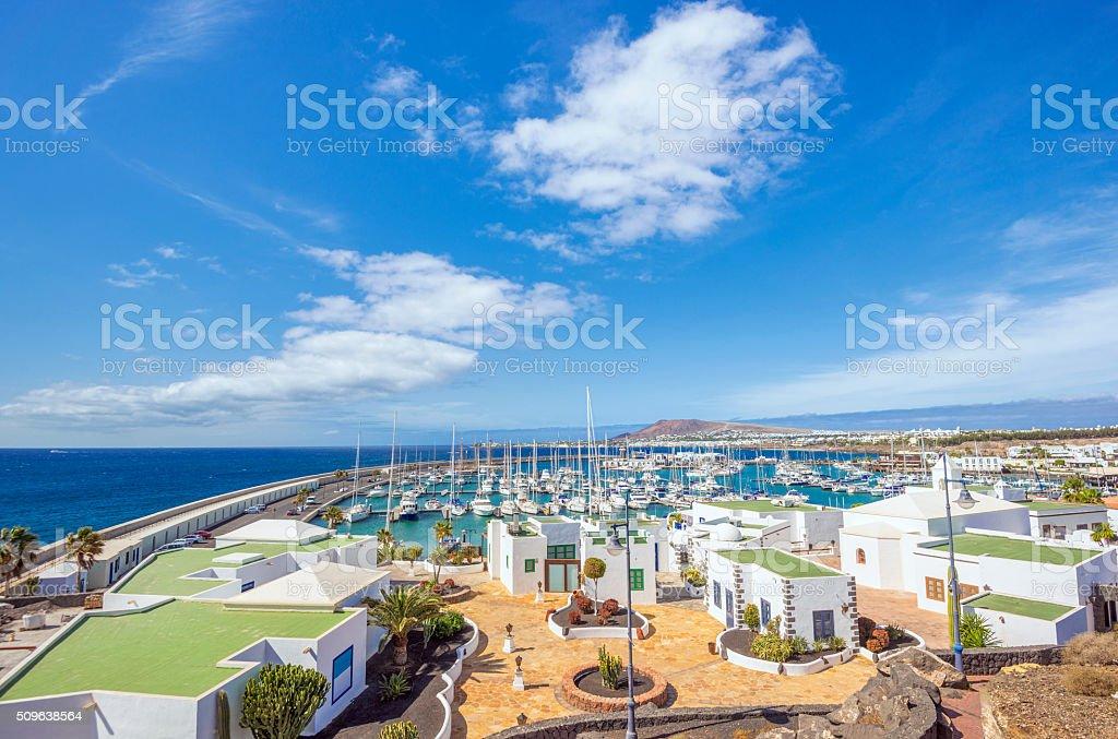 Playa Blanca and new yacht harbour Marina Rubicon on Lanzarote stock photo