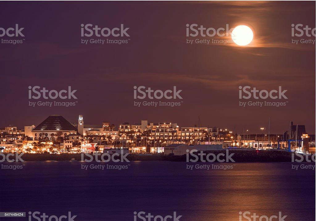 Playa Blanca town at night stock photo