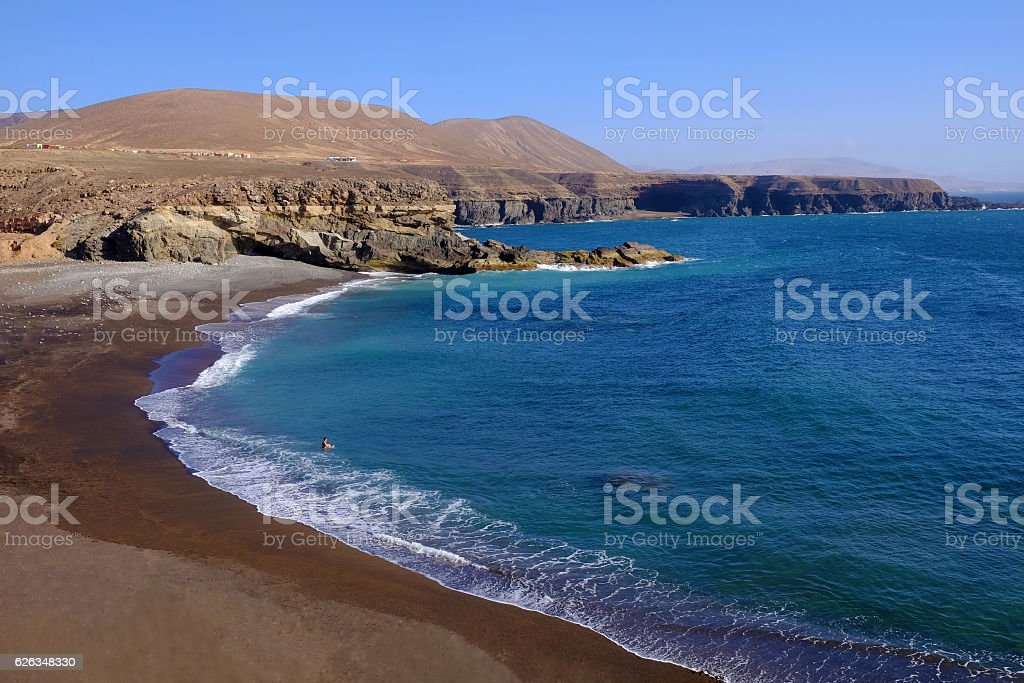 Playa de Ajuy on the Canary island Fuerteventura, Spain. stock photo