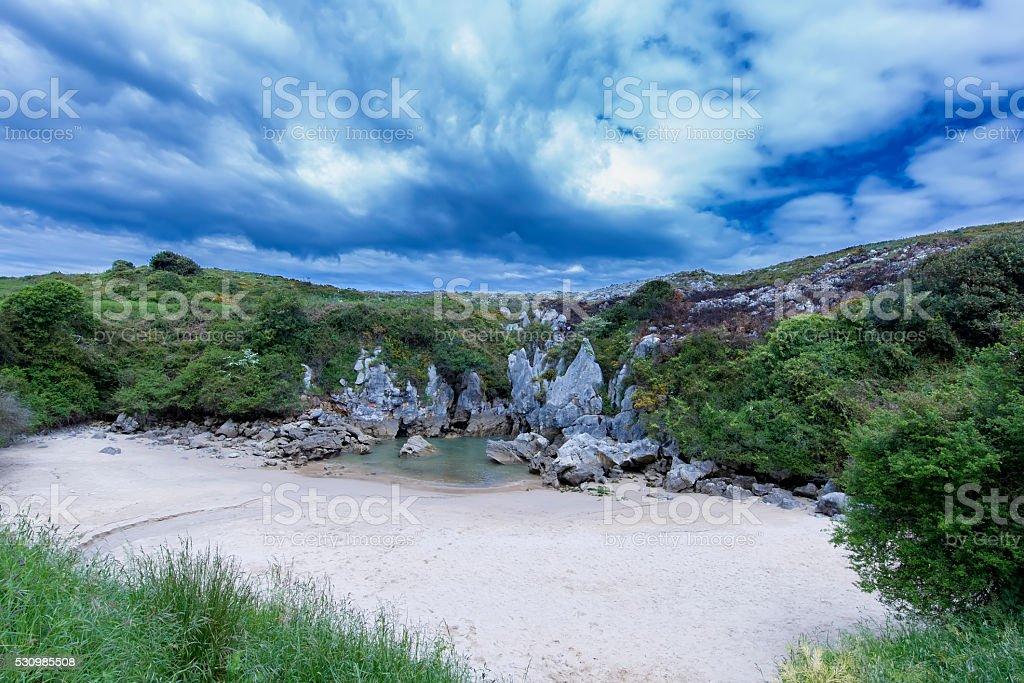 Playa de Gulpiyuri, Asturias, Spain stock photo