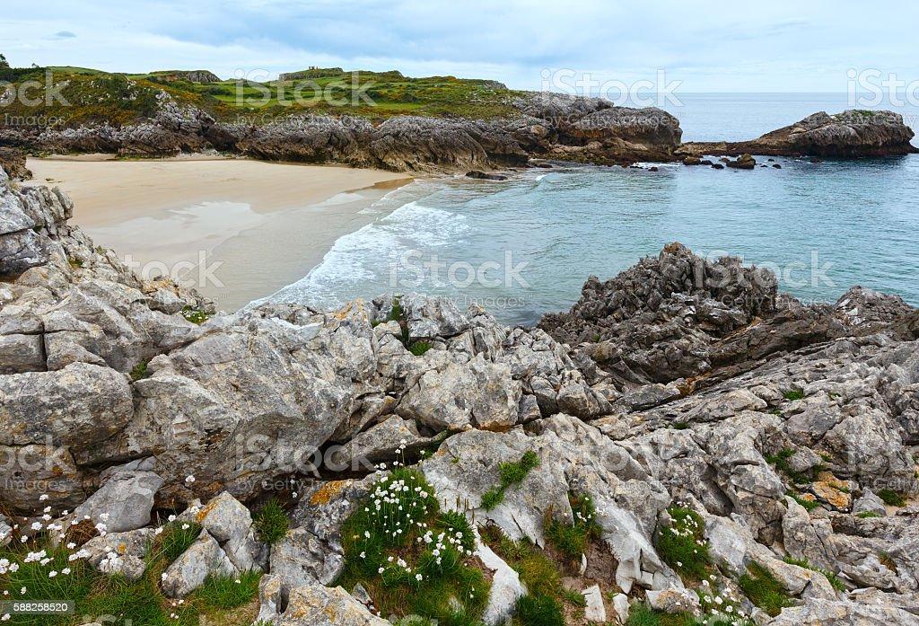 Playa de La Huelga (Villahormes, Spain). stock photo