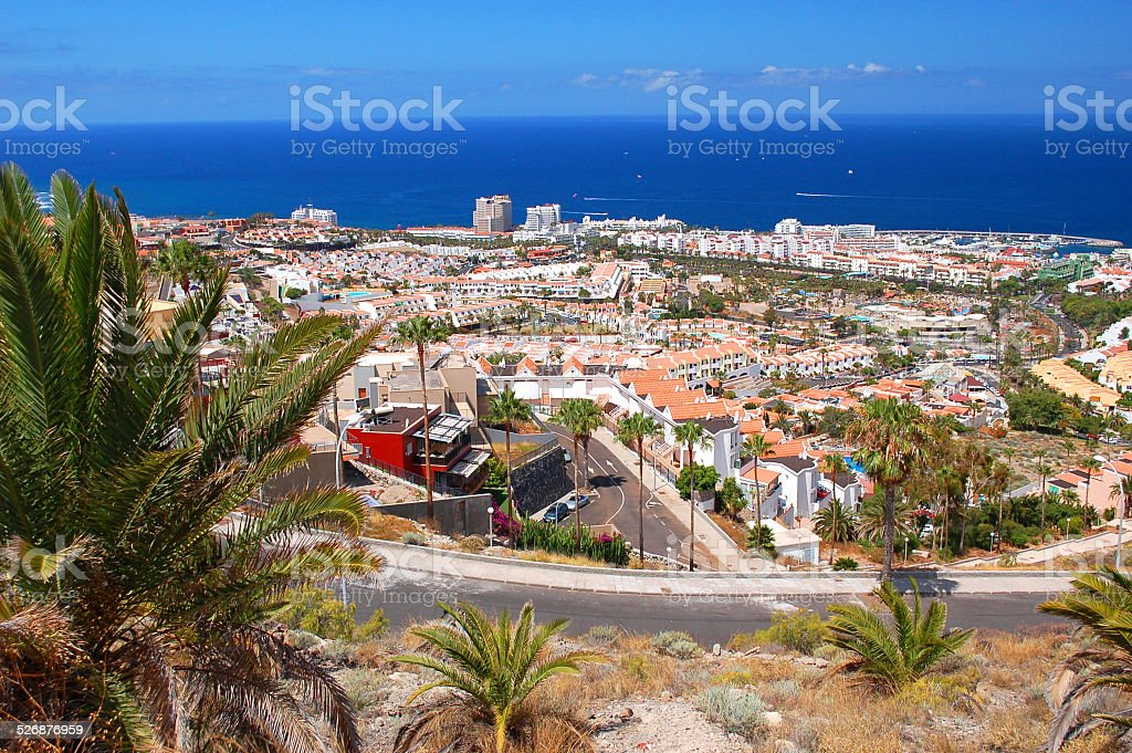 playa de las americas on tenerife, canary islands, spain stock photo