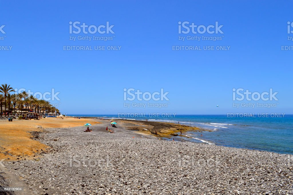 Playa de las Americas pebble beach stock photo
