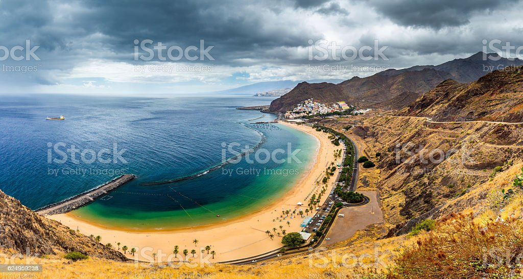 Playa de Las Teresitas, a famous beach near Santa Cruz stock photo