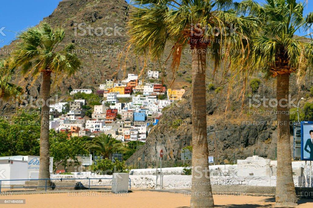 Playa De Las Teresitas apartments built on the side of a mountain stock photo
