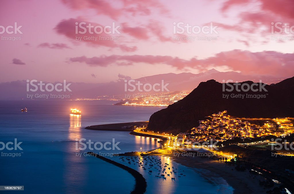 Playa de Las Teresitas - At sunset stock photo