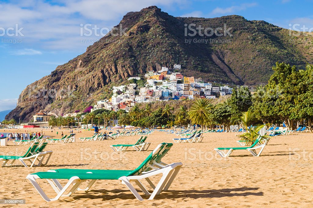 Playa de las Teresitas beach and San Andres village, Tenerife stock photo