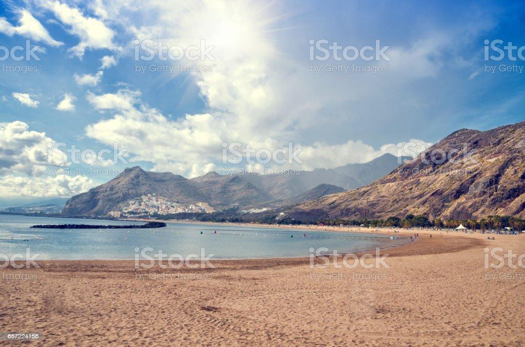 Playa de Las Teresitas near Santa Cruz de Tenerife. Yellow sand beach in the north of Tenerife. stock photo