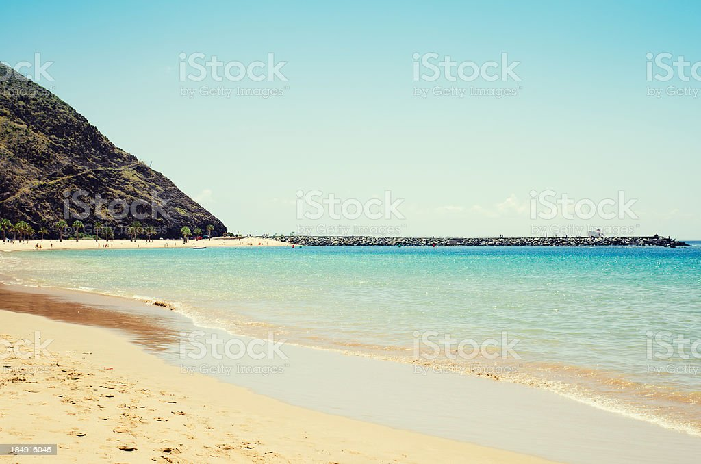 Playa de las Teresitas with tourist - Tenerife stock photo
