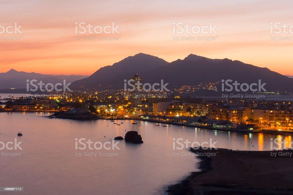 Playa de Murcia por la noche stock photo