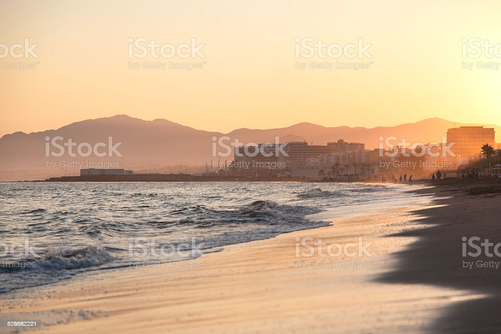 Playa del Cable at sunset stock photo