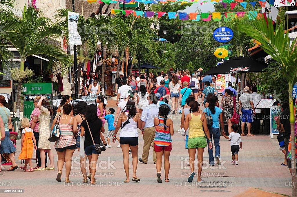 Playa Del Carmen,5th Avenue, Mexico. stock photo
