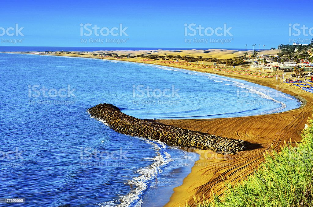 Playa del Ingles beach and Maspalomas Dunes, Gran Canaria, Spain stock photo
