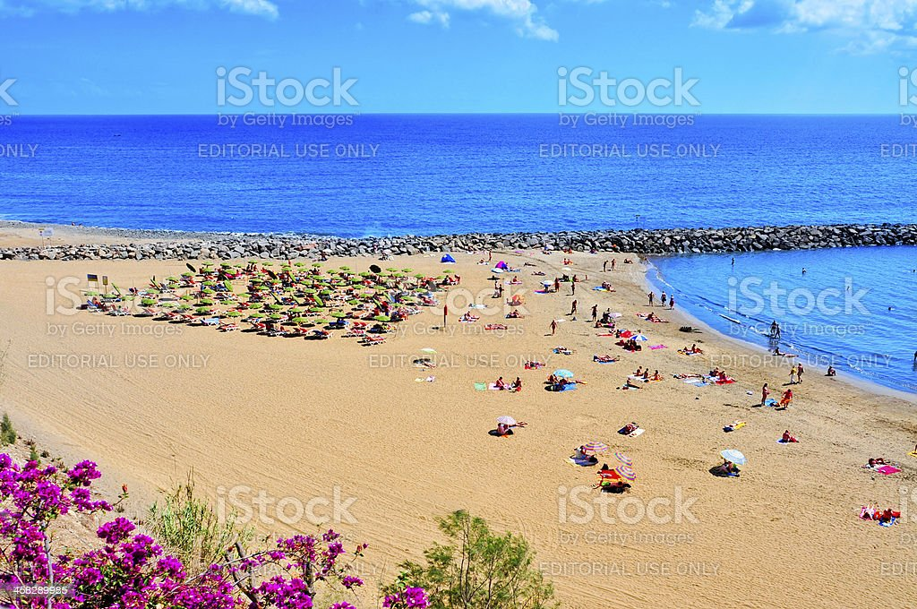 Playa del Ingles beach in Maspalomas, Gran Canaria stock photo