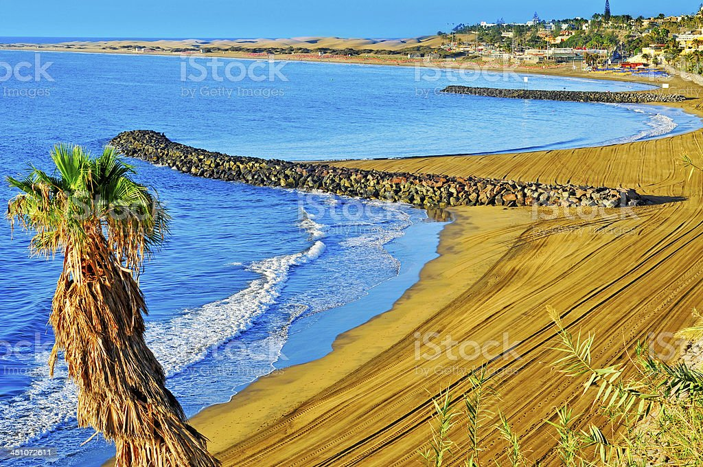 Playa del Ingles beach in Maspalomas, Gran Canaria, Spain stock photo