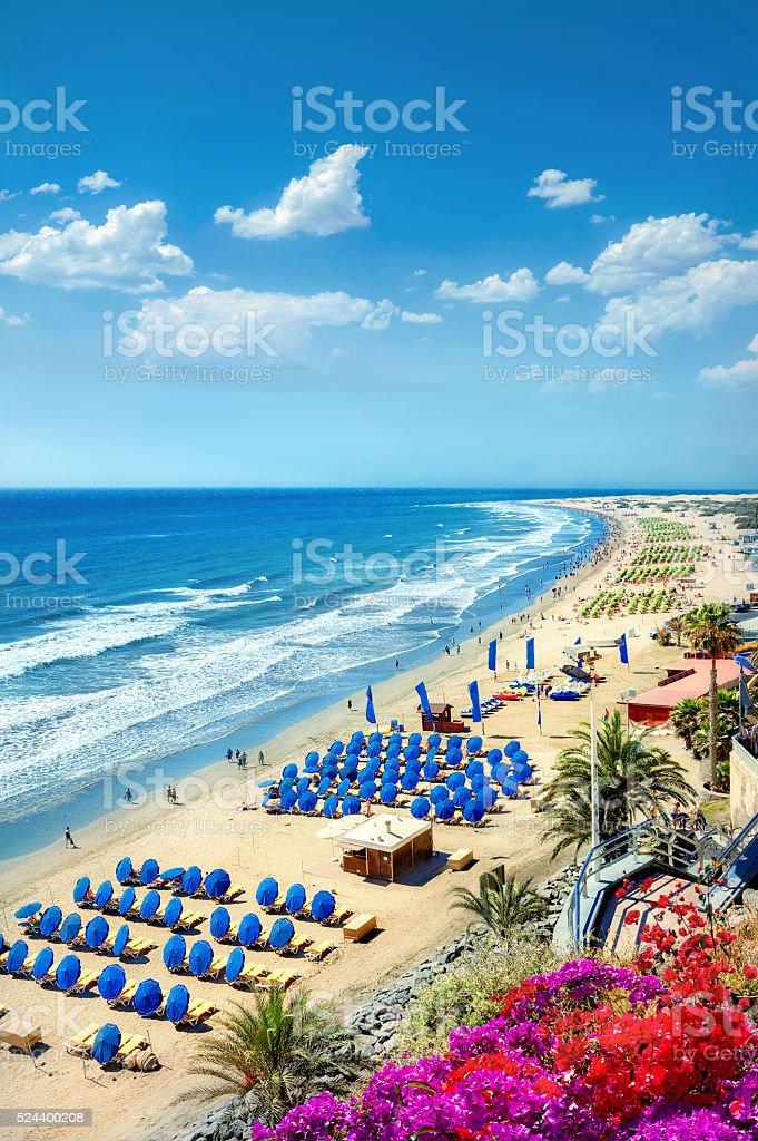 Playa del Ingles beach. Maspalomas. Gran Canaria stock photo