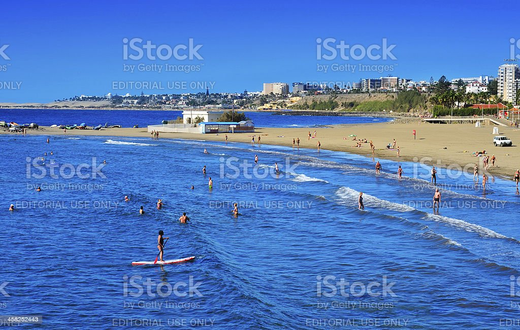 Playa del Ingles coastline in Maspalomas, Gran Canaria stock photo