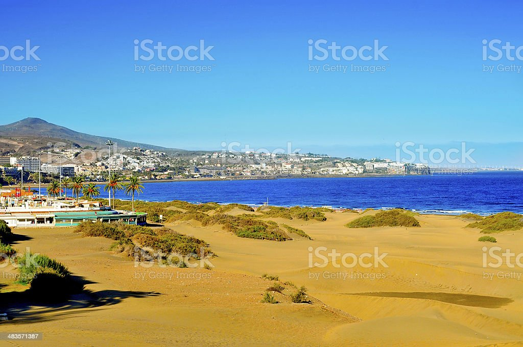 Playa del Ingles in Maspalomas, Gran Canaria, Spain stock photo