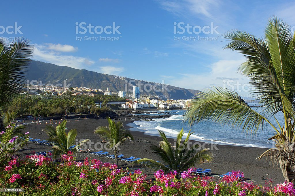 Playa Jardin beach on Tenerife Island in Spain stock photo