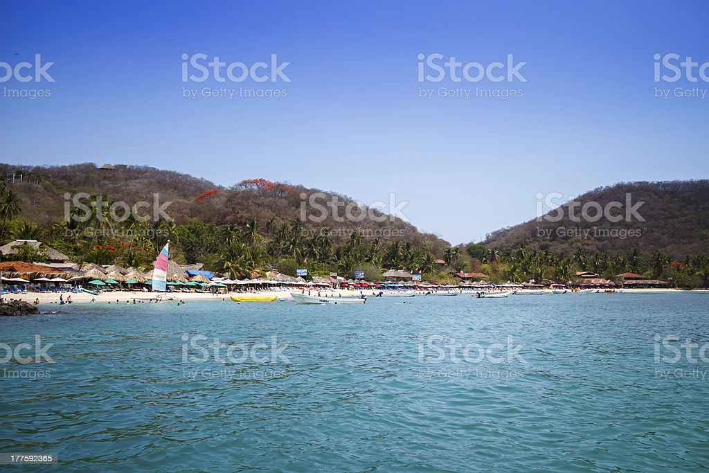 Playa las Gatas from boat. stock photo