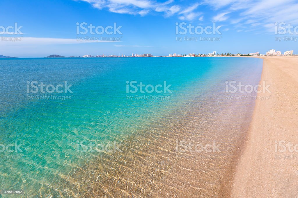 Playa Paraiso beach in Manga Mar Menor Murcia stock photo