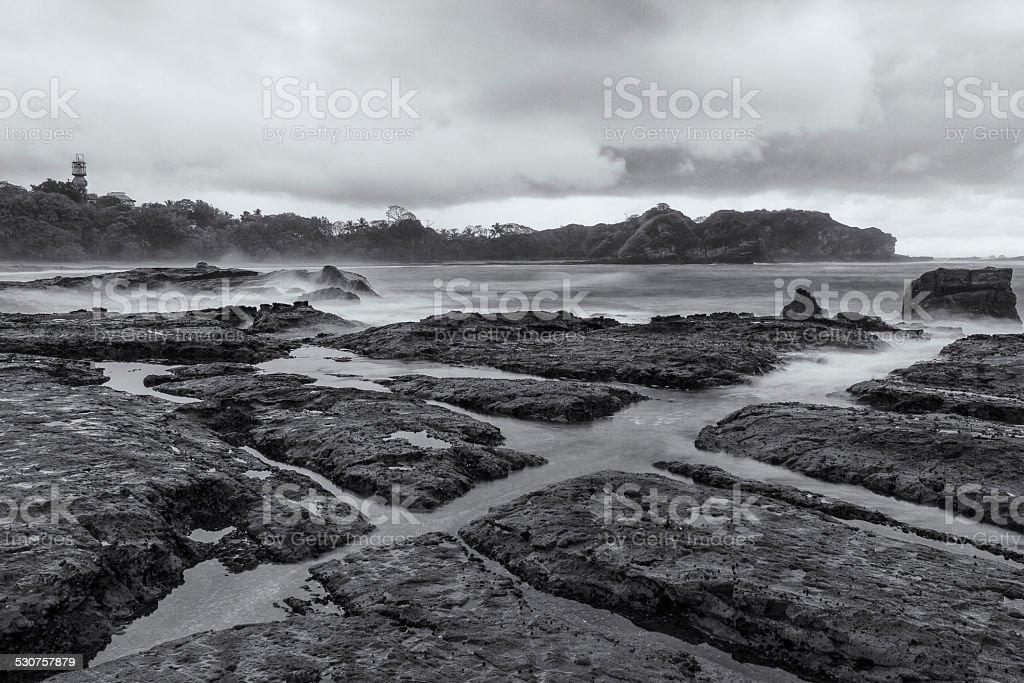 Playa Pelada Tidal Pools at Dusk stock photo