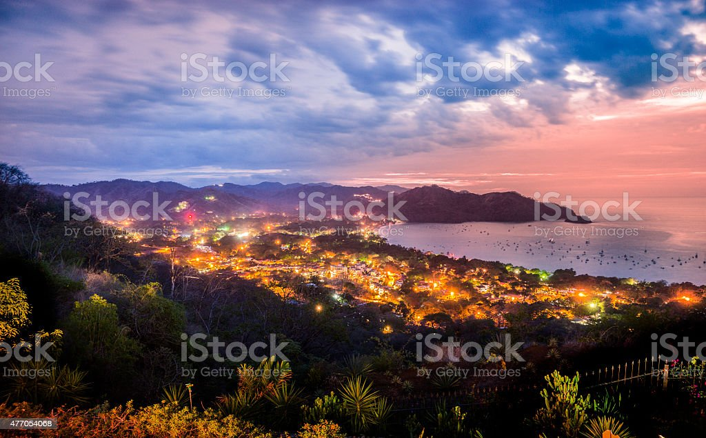 Playas del Coco, Guanacaste, Costa Rica at dusk stock photo