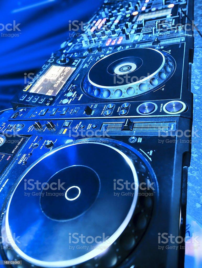 DJ CD player and mixer royalty-free stock photo
