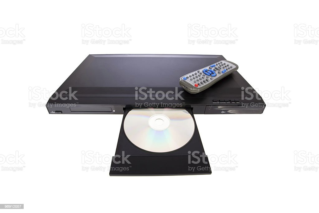 DVD player ejecting disc isolated on white stock photo