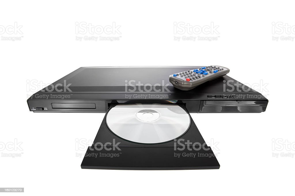 DVD player ejecting disc on white stock photo
