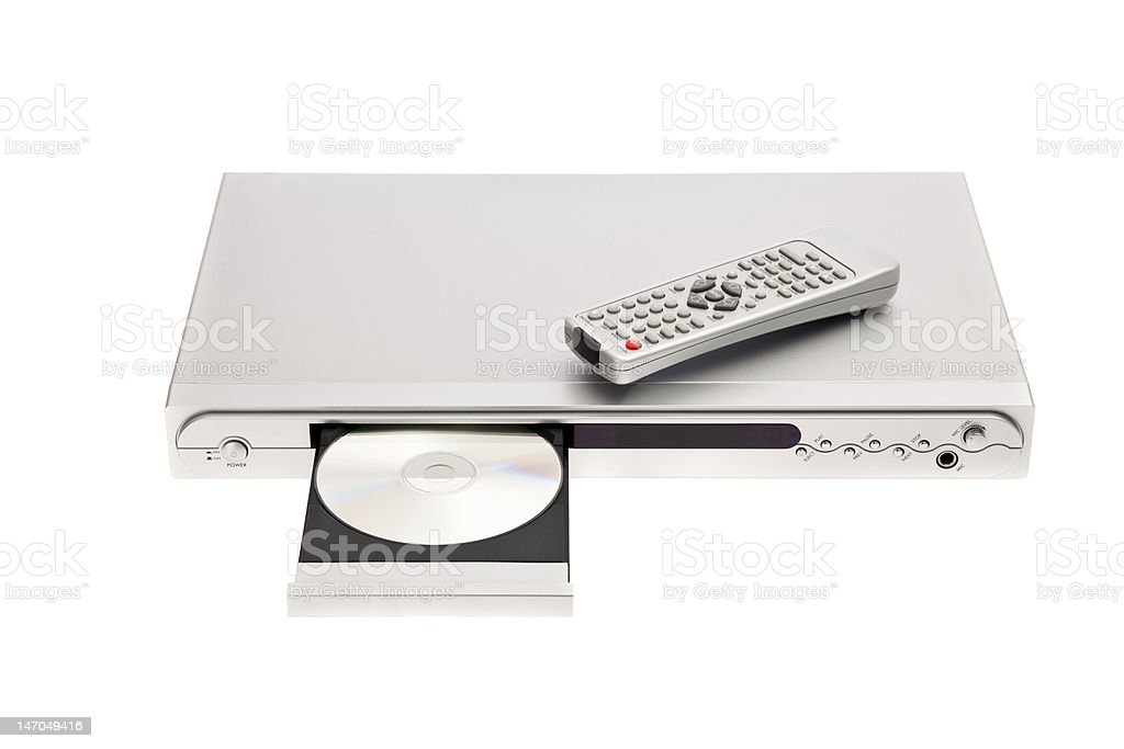 DVD player ejecting disc with remote control isolated on white stock photo