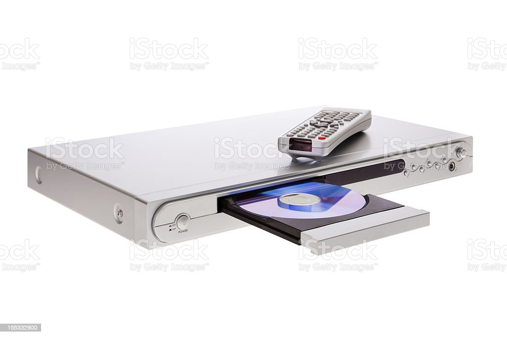 DVD player ejecting disc with remote control isolated stock photo